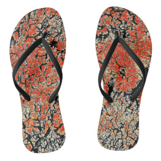 Red Black White Yellow Flip Flops