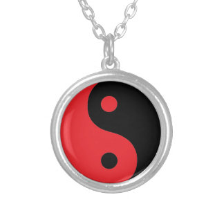 Red & Black Yin Yang Silver Plated Necklace