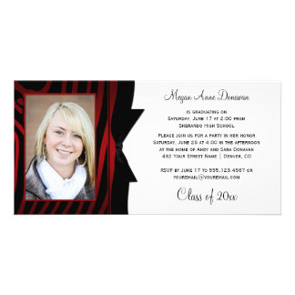 Red Black Zebra Print Photo Graduation Party Card