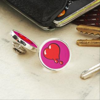 Red Bleeding Heart liberal on purple Lapel Pin