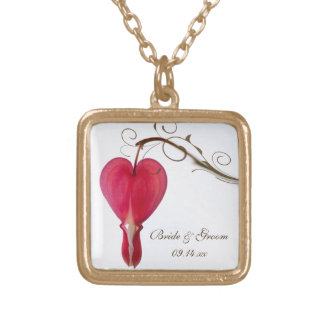 Red Bleeding Heart Wedding Gold Plated Necklace