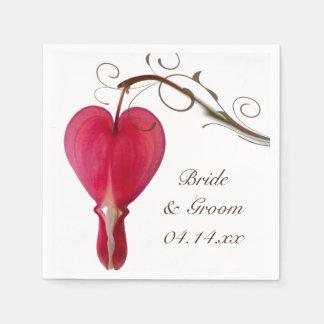 Red Bleeding Hearts Wedding Paper Napkin