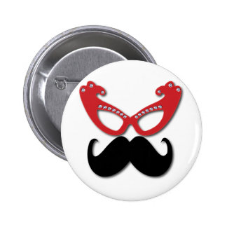 red bling glasses with mustache 6 cm round badge