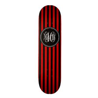 Red Blk Vert Stripe 6x Black Vine Script Monogram Skate Board Decks