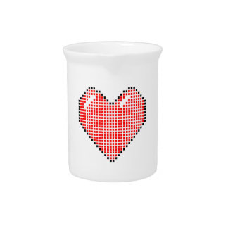 Red Blocky Heart Pitcher