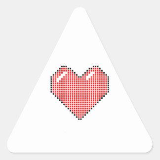 Red Blocky Heart Triangle Sticker