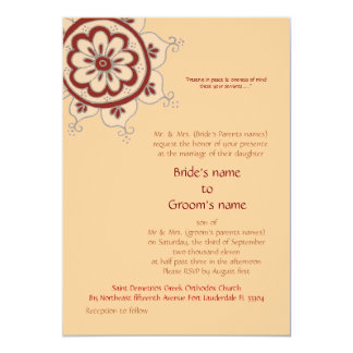"Red Bloom 5"" X 7"" Invitation Card"