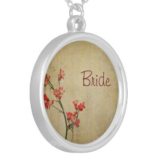 Red Blossom Bride Round Pendant Necklace