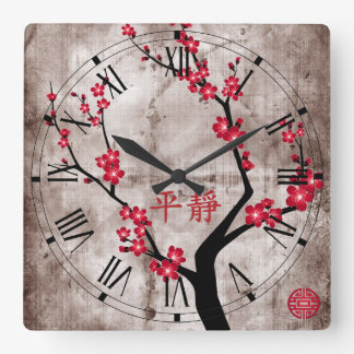 "Red blossom tree ""Serenity"" Square Wall Clock"
