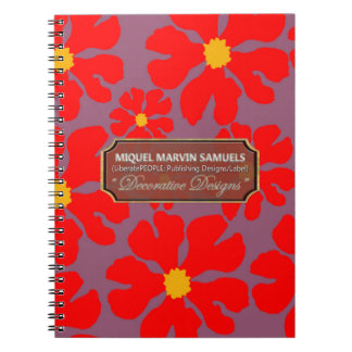Red Blossoms Decor Designer Modern Notebook