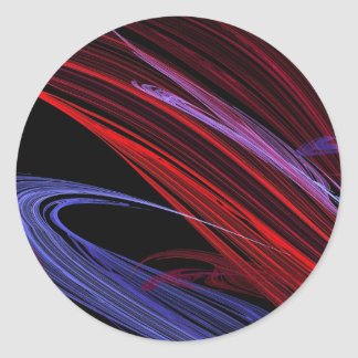 Red Blue Abstract Fractal Round Sticker