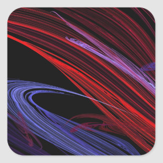 Red Blue Abstract Fractal Square Sticker