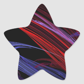 Red Blue Abstract Fractal Star Sticker