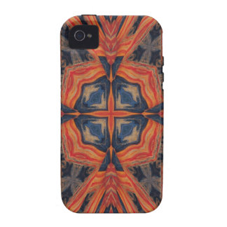 Red Blue Abstract Pattern Vibe iPhone 4 Cases