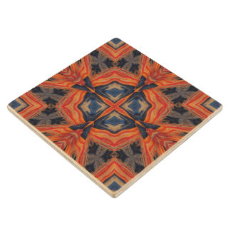 Red & Blue Abstract Pattern Wood Coaster