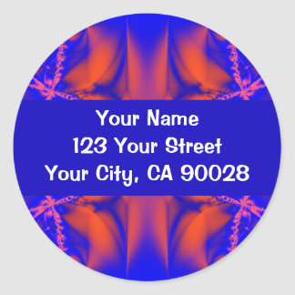 Red Blue Abstract Round Sticker