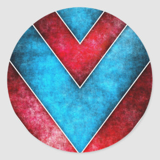 Red Blue Abstract Stripe Sticker