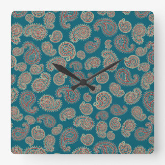 Red, Blue and Beige Paisley Pattern Square Wall Clock