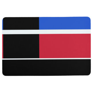 Red, blue and black color blocks floor mat