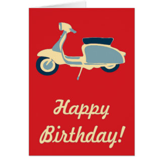 Red Blue and Cream Retro Scooter Birthday Card