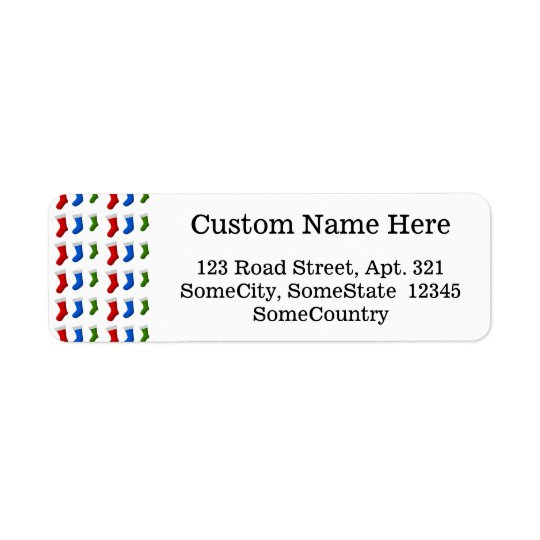 Red, Blue and Green Christmas Stockings Return Address Label