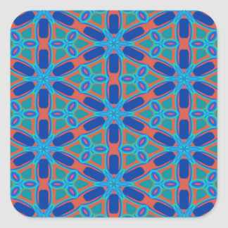 Red, Blue and Green Floral Pattern Square Sticker