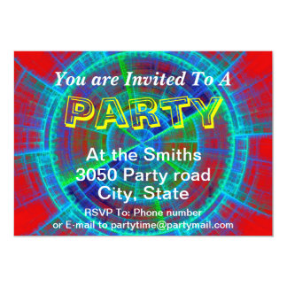 Red Blue and Green Fractal Tech Disc Custom Text 5x7 Paper Invitation Card
