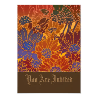 Red Blue And Orange Flowers 13 Cm X 18 Cm Invitation Card