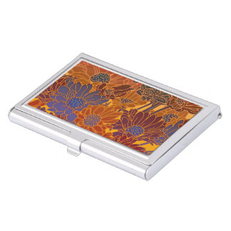 Red Blue And Orange Flowers Business Card Holder