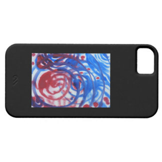 Red, Blue and Pale Gray Swirl Pattern. On Black. iPhone 5 Covers