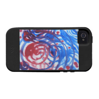 Red Blue and Pale Gray Swirl Pattern On Black iPhone 4 Case