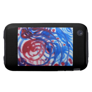 Red, Blue and Pale Gray Swirl Pattern. On Black. iPhone 3 Tough Cover