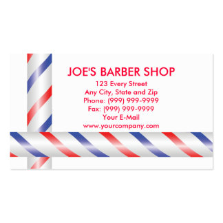 red blue and white barber poles business cards