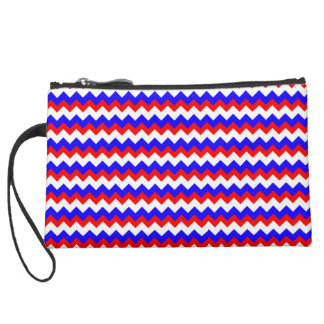 red blue and white patriotic stripe clutch wristlet