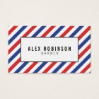 Red, blue and white stripes barber business card