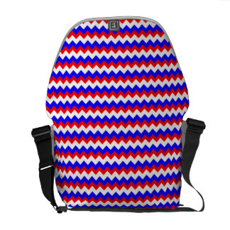 red blue and white zigzag messenger bags