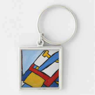 Red Blue and Yellow Cubism Art Printed Keychain