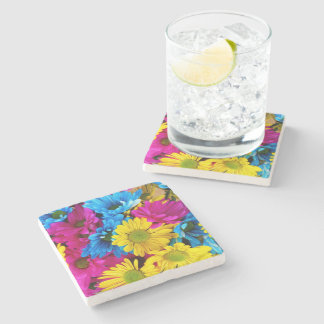 red,blue and yellow daisies stone coaster