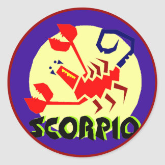 Red Blue and Yellow Horoscope Sign Scorpio Sticker