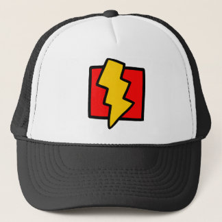 Red Blue and Yellow Lightning Bolt Trucker Hat