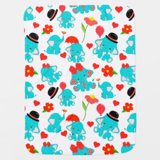 Red Blue Baby Elephants Baby Blanket