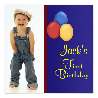 Red Blue Balloons  Boys Photo 1st Birthday Party Personalized Announcement
