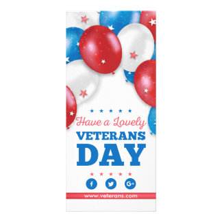Red Blue Balloons Have a lovely veterans day Rack Card