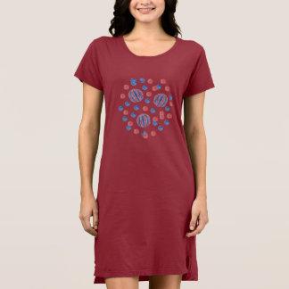 Red Blue Balls Women's T-Shirt Dress