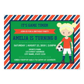 Red Blue Blonde Girl Soccer Birthday Invitation