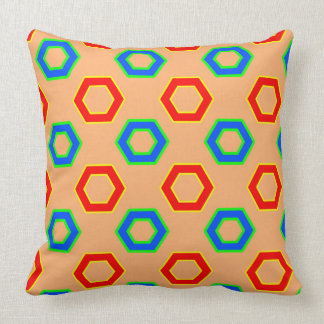 Red & blue, brown Vector Hexagon Pattern Cushion