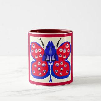 Red Blue Butterfly Mug