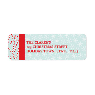 Red Blue Candy Cane Snowflakes Christmas Label