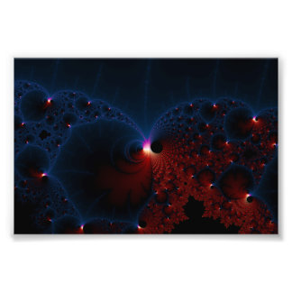 Red Blue Cells Fractal Art Photo Print
