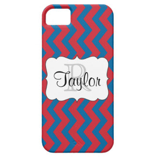 Red & Blue Chevron monogrammed iPhone5 Case